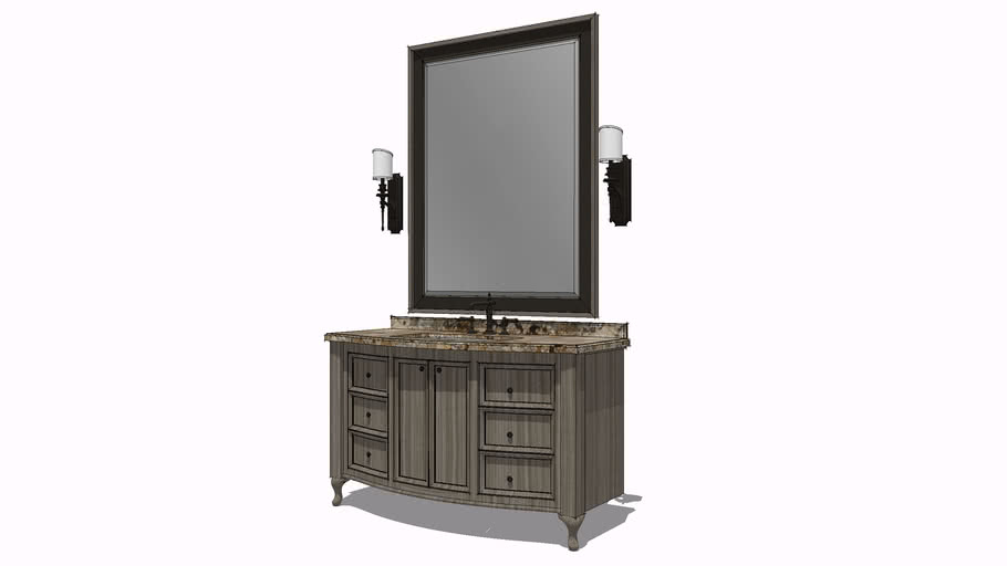 French Curve Vanity and Mirror