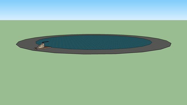 pool with diving board and bench