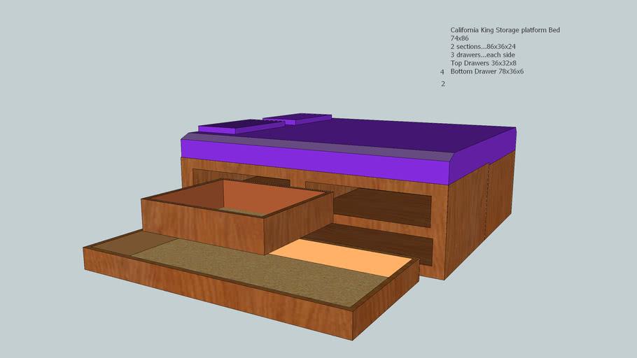 California King, Storage Platform Bed