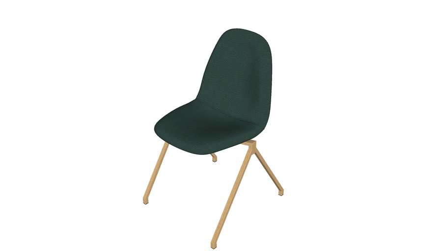 188133 - Chaise professionnelle verte et pieds en métal imitation teck Abby Pro