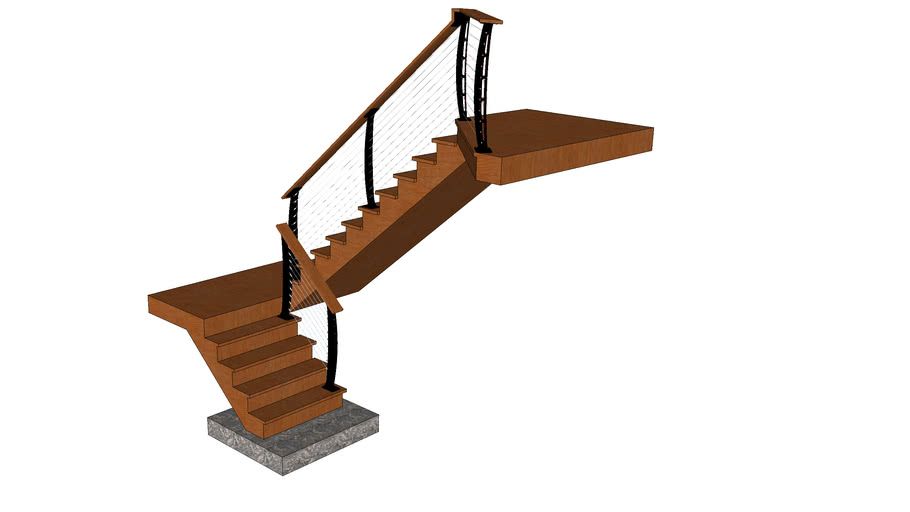 Keuka Style Cable railing on 180 stairs