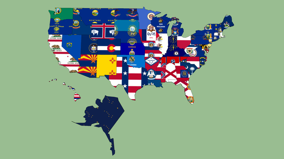 USA Map States w/ Flags