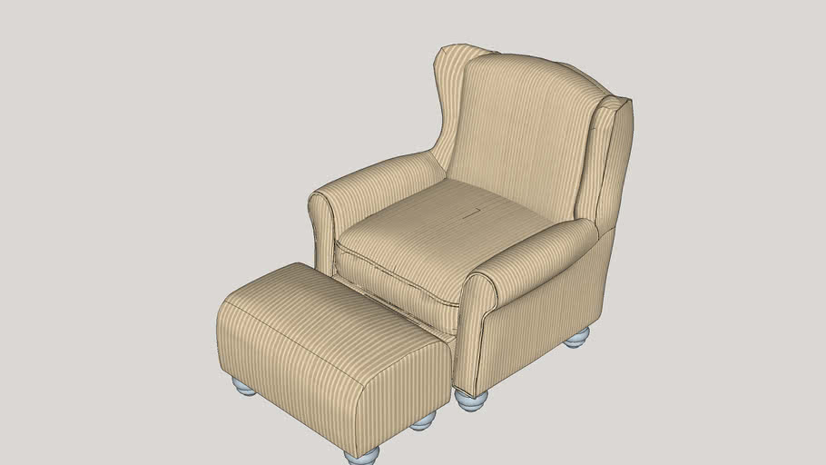 Brougham Wingback Chair and Ottoman