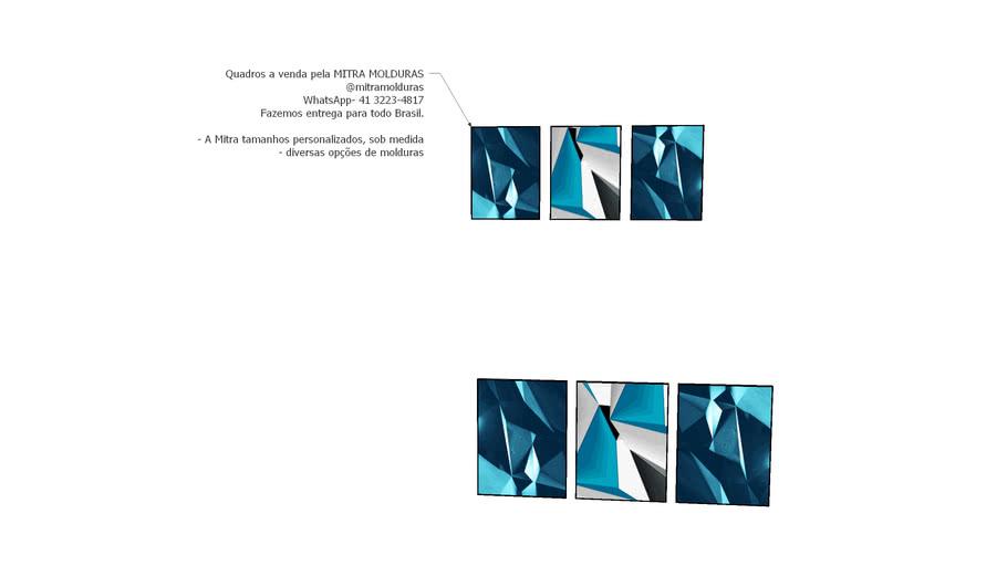 Quadros Composição35 - Geométrico Azul - Mitra Quadros Personalizados