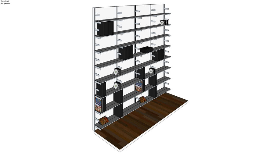 "ISS Designs Modular Shelving - 96"" Wide Wall Mounted System With Aluminum Shelves"