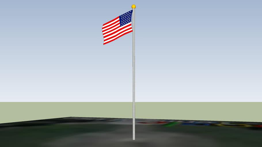 USA flag at Santa Barbara Airport Administration building