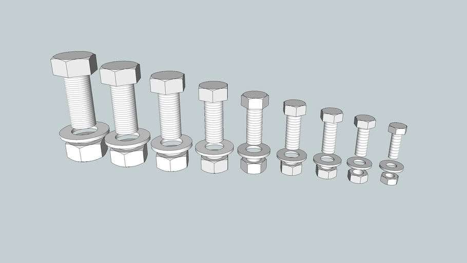 Asme Nuts Bolts And Washers 0 25 1 00 3d Warehouse