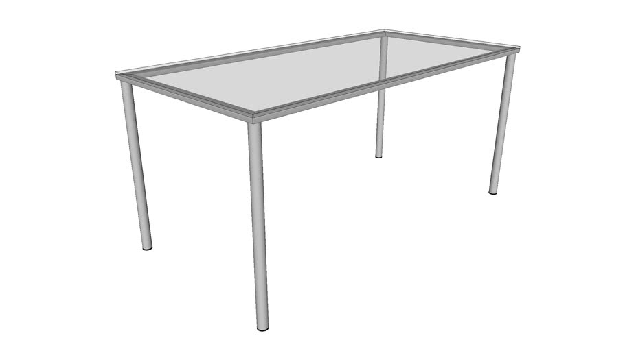 Metal table with glass worktop