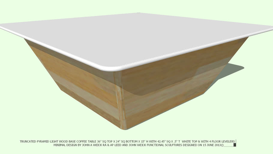 COFFEE TABLE LT WD TRUNCATED PYRAMID 42 WHITE TOP BY JOHN A WEICK RA