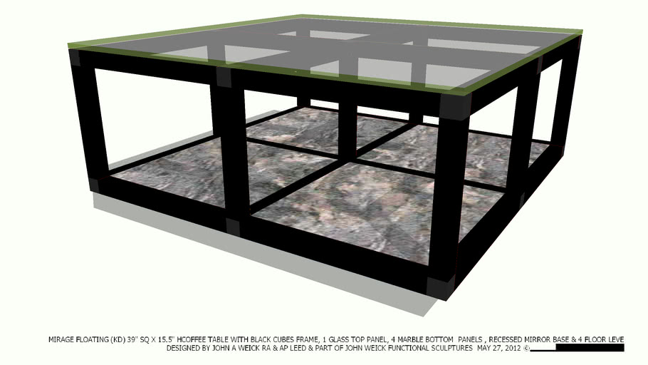 COFFEE TABLE 39 SQ BLACK CUBES 4 GL 4 MARBLE PANELS BY JOHN A WEICK RA