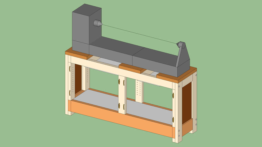 Lathe stand with cabinet