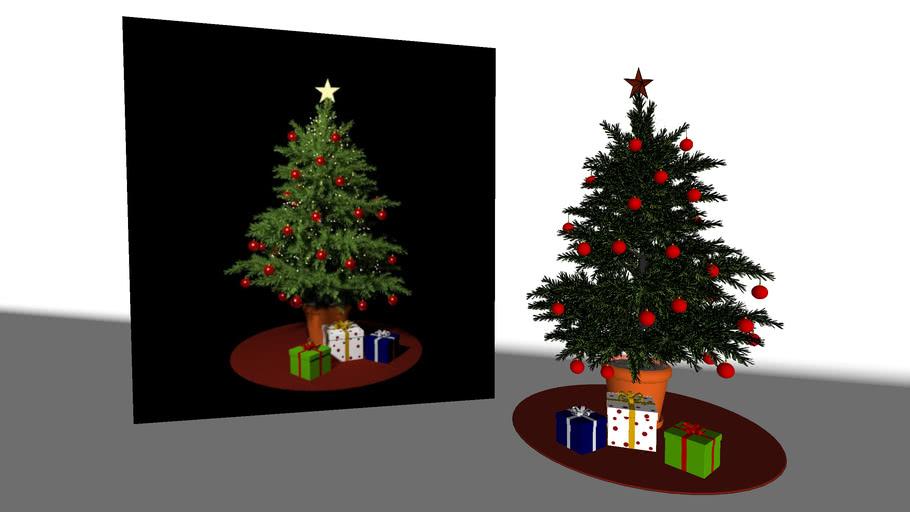 Christmas Tree with christmas lights. V-Ray materials ready.