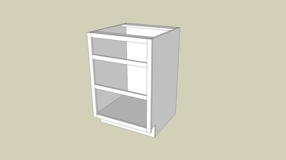 Base cabinet with extended side panels (dado side panels, bottom panel & upper stretcher)