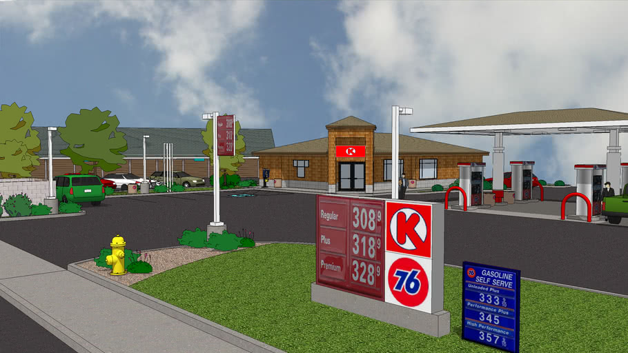 Gas Station Rendering.