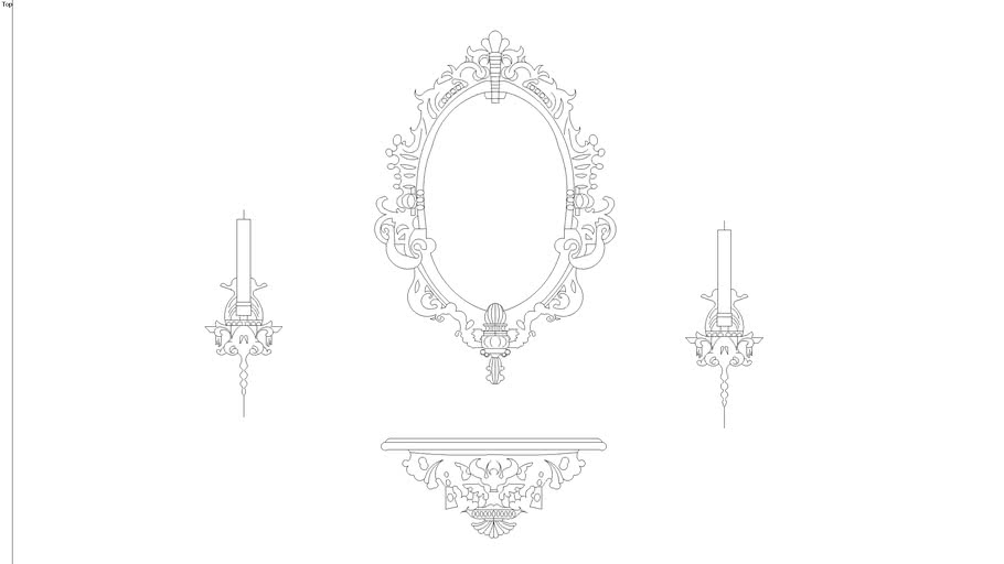 2D baroque wall stencil of mirror, console and candle holders