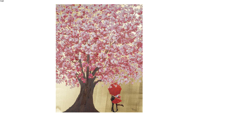 51741 Picture Touched Flower Couple Gold Pink 100x80cm