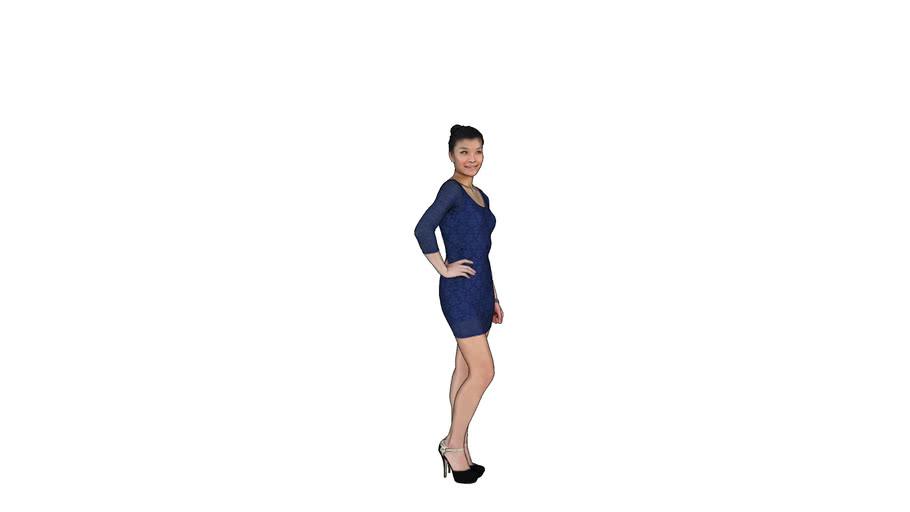 3D girl Blue dress