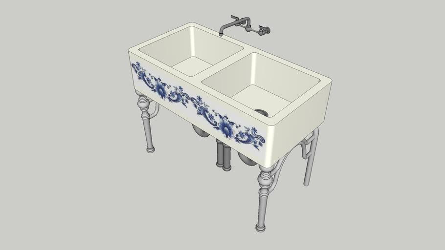 Antique Painted Porcelain Kitchen Sink