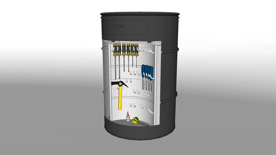 Oil drum toolbox