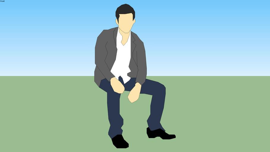 sitting man 2d