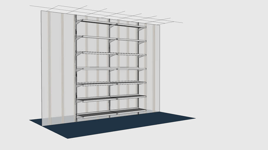 E Z Shelving Wall Mounted Cantilever Wall To Wall Floor To Ceiling Shelving Unit Wm2s48x18x132 7 3d Warehouse