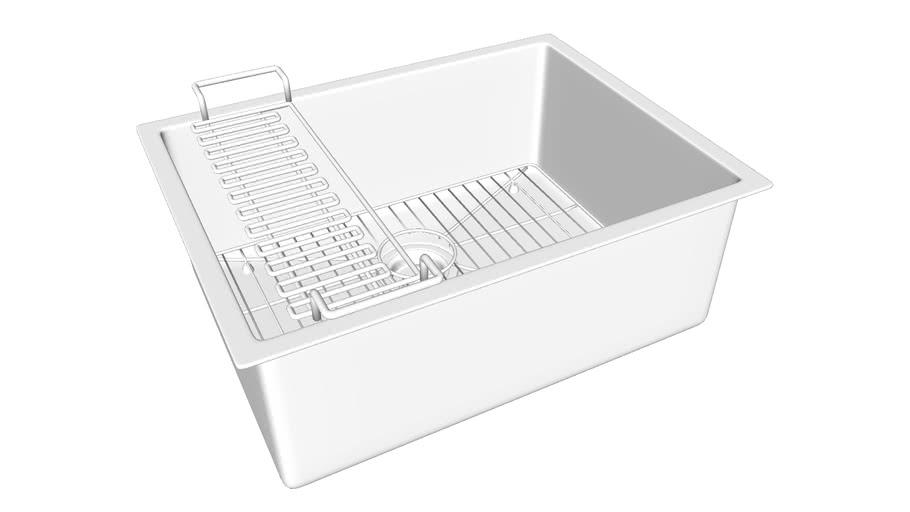 "K-5286 Strive(R) 24"" x 18-1/4"" x 9-5/16"" under-mount single bowl kitchen sink with sink rack"