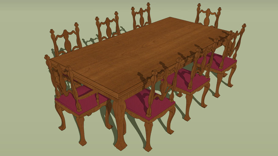 Furniture Dining Room Formal Table Eight Chairs 3d Warehouse