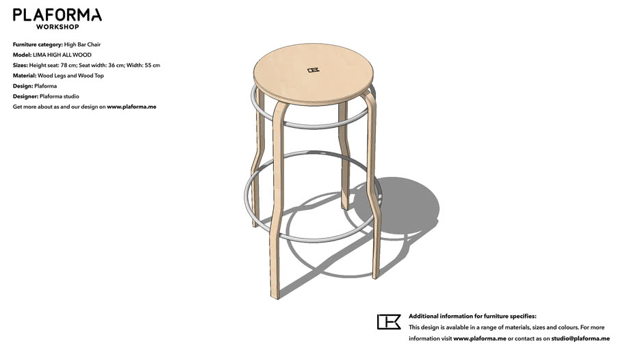 PLAFORMA LIMA  ALL WOOD (High 78) Bar Chair