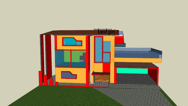 modern house with three rooms