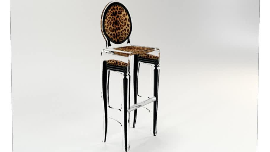 TABOURET SIXTEEN LEOPARD CONTOUR NOIR Acrila Furniture