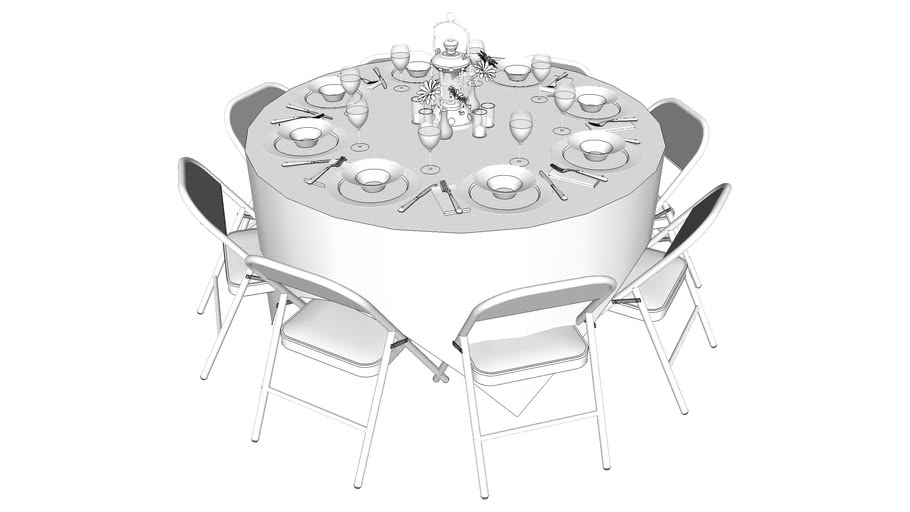 Banquet Table with folding chairs