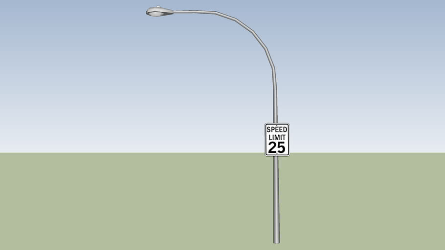 Streetlight with 25MPH sign