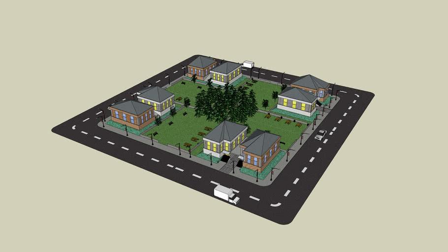 Eine kleine Wohnhaussiedlung.