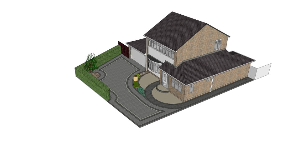 Front garden with block paved parking areas