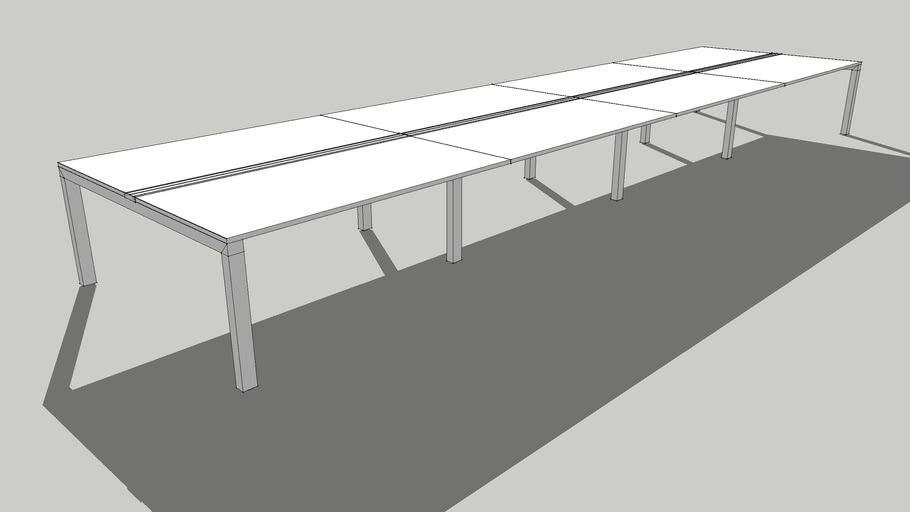 System U - kantooropstelling bench voor 8 personen