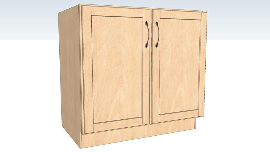 Base Double Door Full Height - Half Depth Shelf