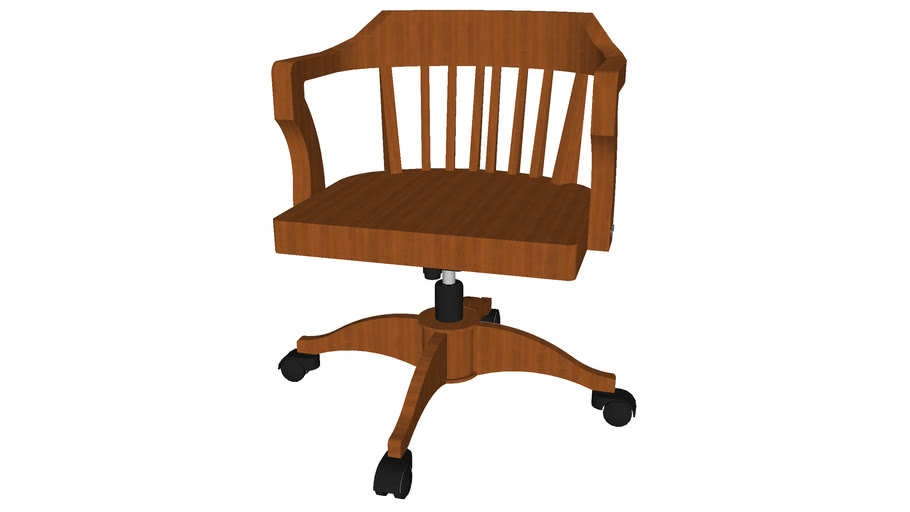 Wood Office Chair - Detailed