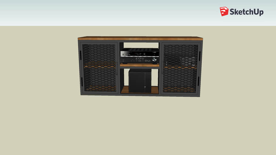 Wood and Iron TV Rack