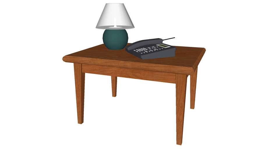 End Table with Lamp and Phone - Detailed