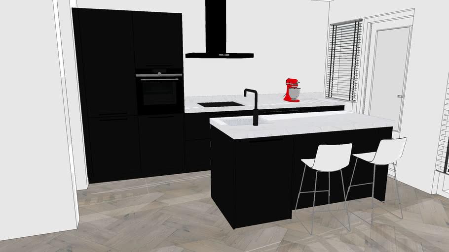 Keukens kookeiland zwart