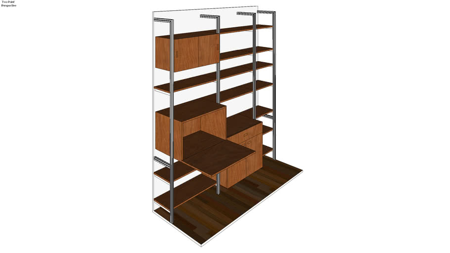"ISS Designs Modular Shelving - 86"" Wide 3 Bay Pole Mounted Wall Unit for Home Office"