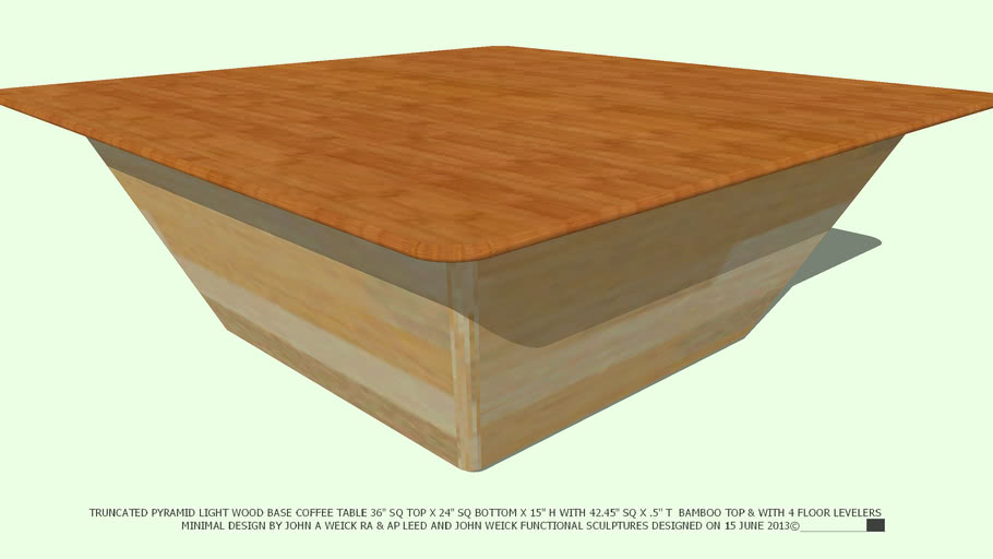 COFFEE TABLE LT WD TRUNCATED PYRAMID 42 BAMBOO TOP BY JOHN A WEICK RA