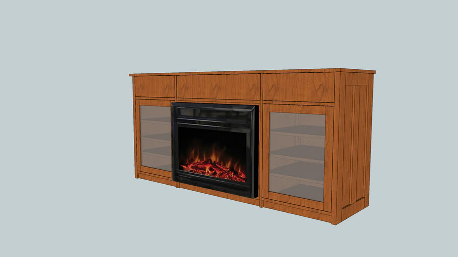 Arts and Crafts Media Console with Fireplace