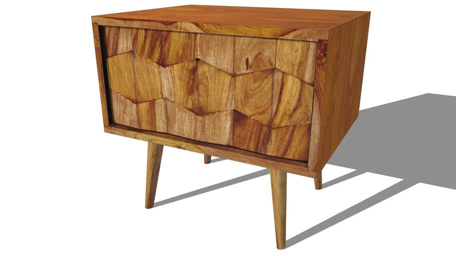 Quadra Table De Chevet Avec Tiroir En Bois De Sheesham Massif L