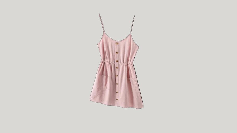 Smocked Mock Button Cami Pocket Dress