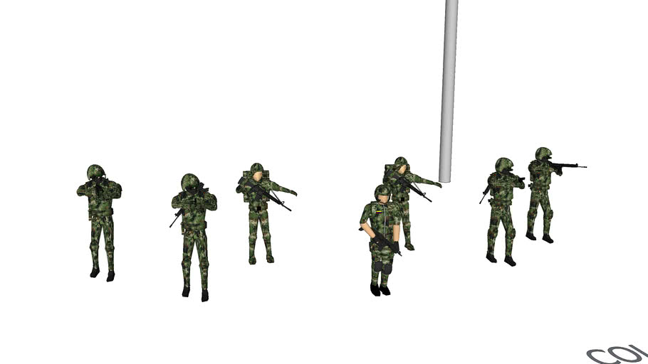 soldados uniforme colombiano pixelado 1