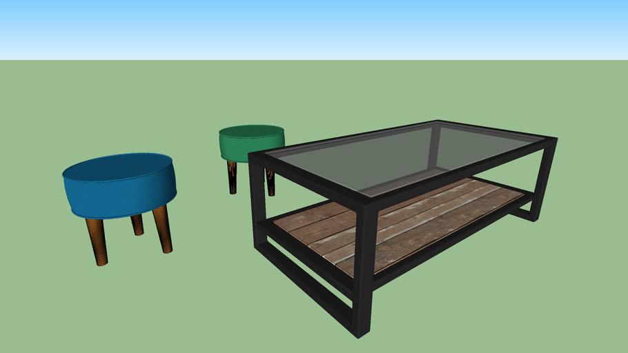 Ensemble Table Basse Tabouret 3d Warehouse