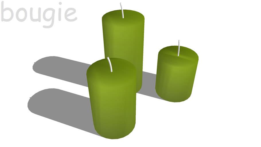 3 bougie vertes