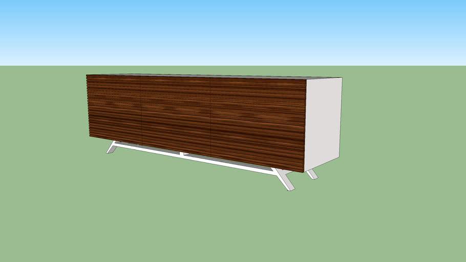 Mid Century Modern Credenza White Walnut 3d Warehouse
