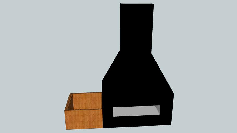 lareira com caixa guarda-lenha